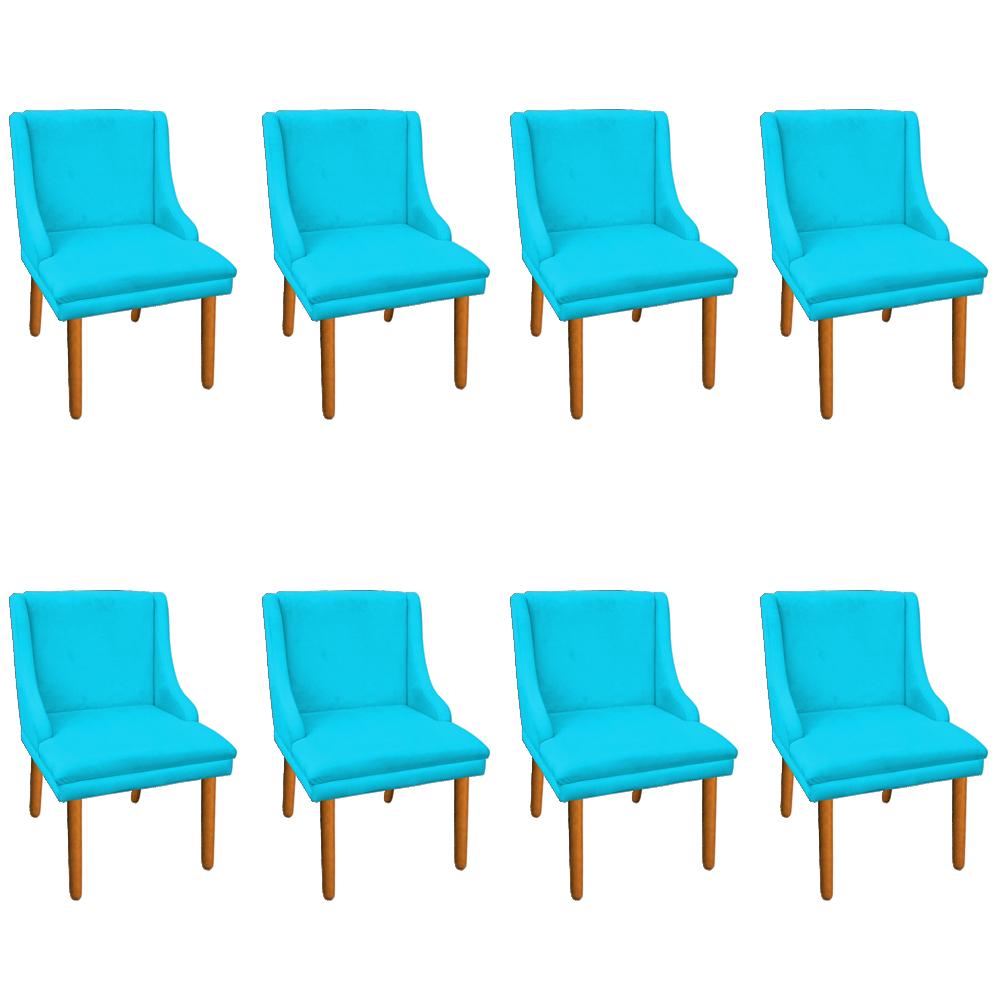 Kit 08 Cadeiras de Jantar Liz Suede Azul Turquesa Pés Palito Castanho D'Rossi
