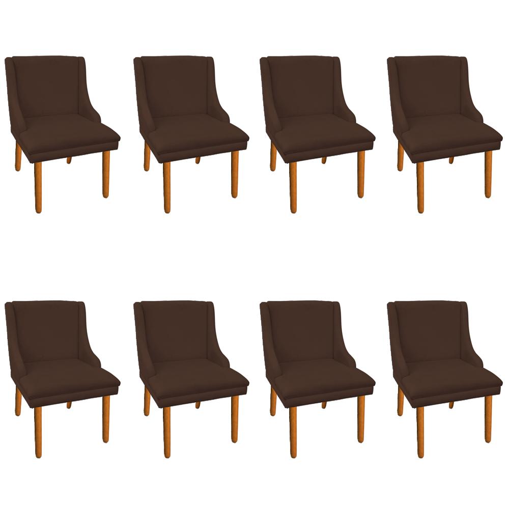 Kit 08 Cadeiras de Jantar Liz Suede Marrom Pés Palito Castanho D'Rossi