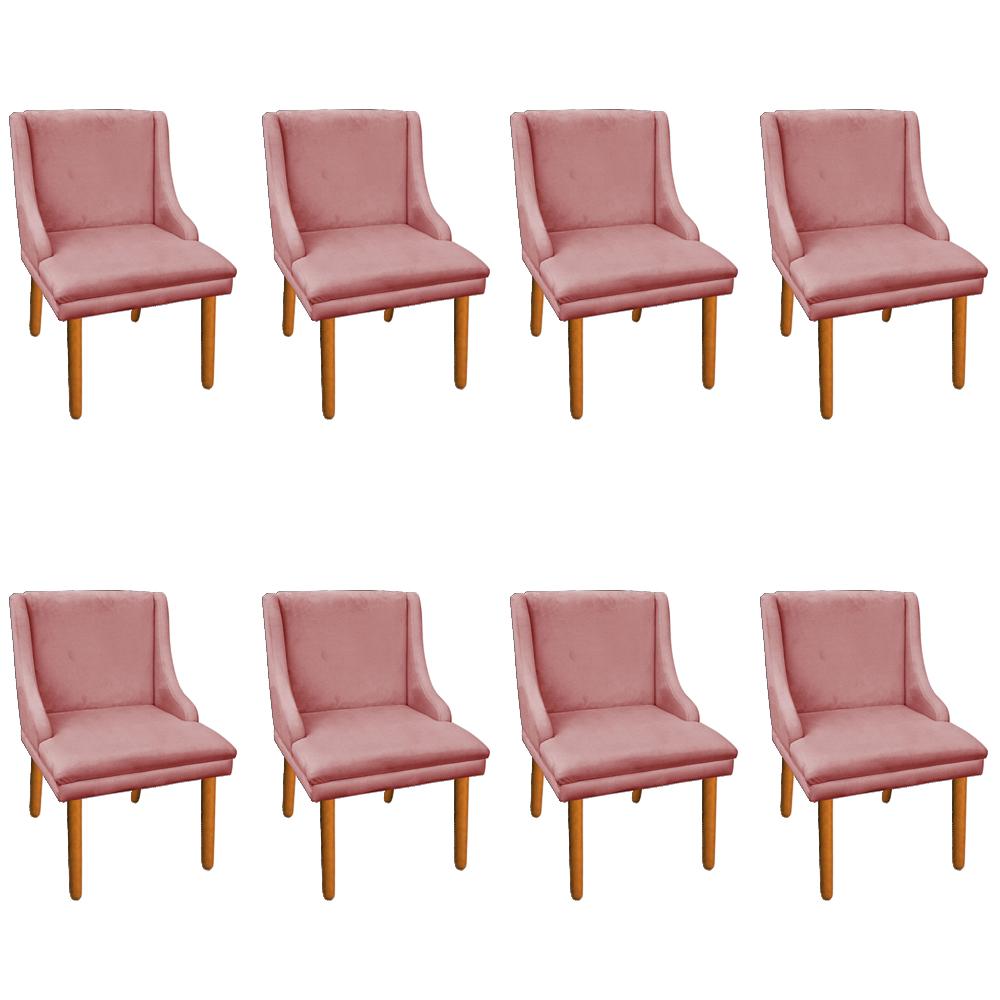 Kit 08 Cadeiras de Jantar Liz Suede Rose Pés Palito Castanho D'Rossi