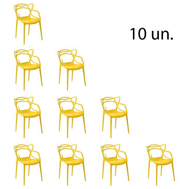 Kit 10 Cadeira Allegra Sala de Jantar Amarelo - D'Rossi