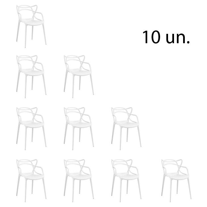 Kit 10 Cadeira Allegra Sala de Jantar Branco - D'Rossi
