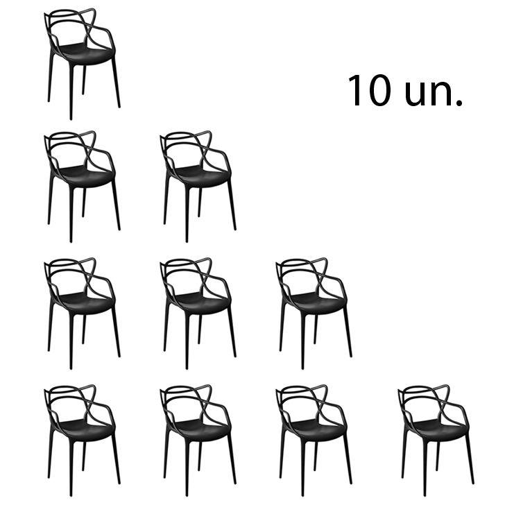 Kit 10 Cadeira Allegra Sala de Jantar Preto - D'Rossi
