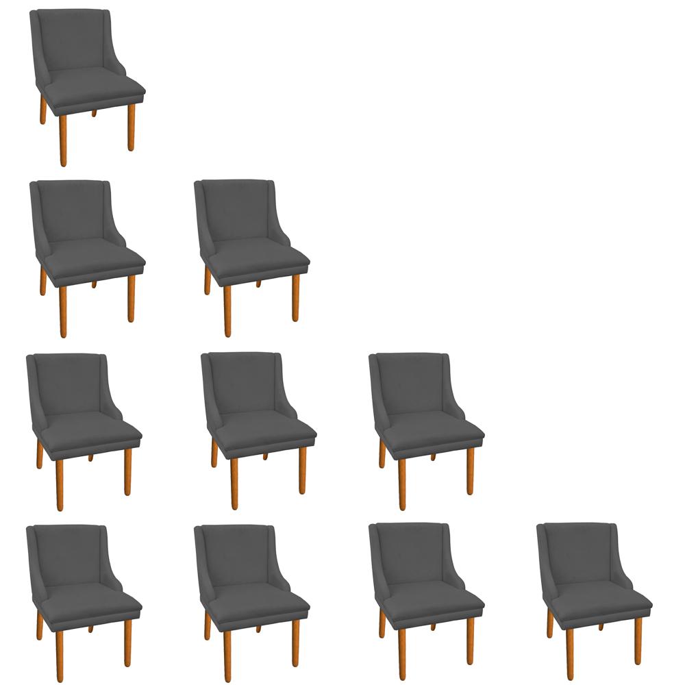 Kit 10 Cadeiras de Jantar Liz Suede Grafite Pés Palito Castanho D'Rossi