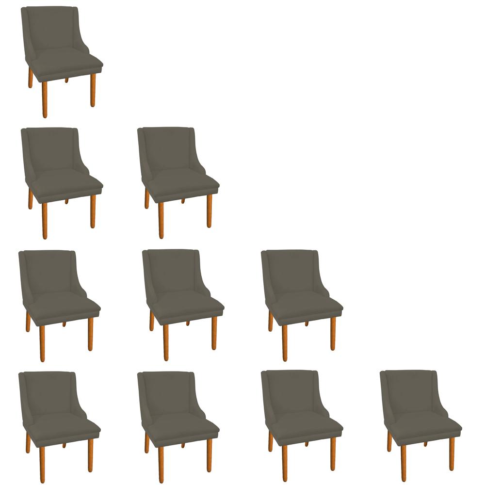 Kit 10 Cadeiras de Jantar Liz Suede Marrom Rato Pés Palito Castanho D'Rossi