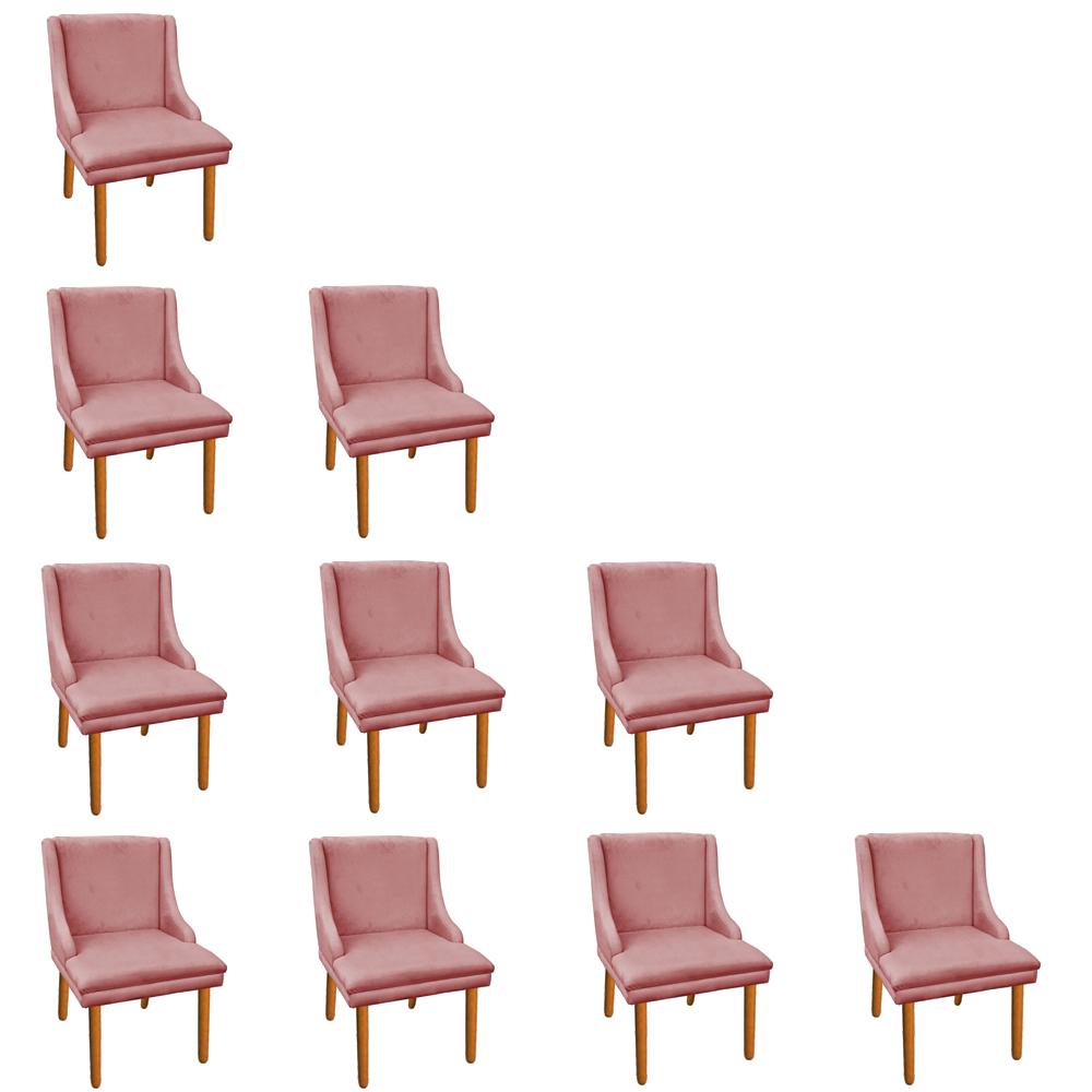 Kit 10 Cadeiras de Jantar Liz Suede Rose Pés Palito Castanho D'Rossi