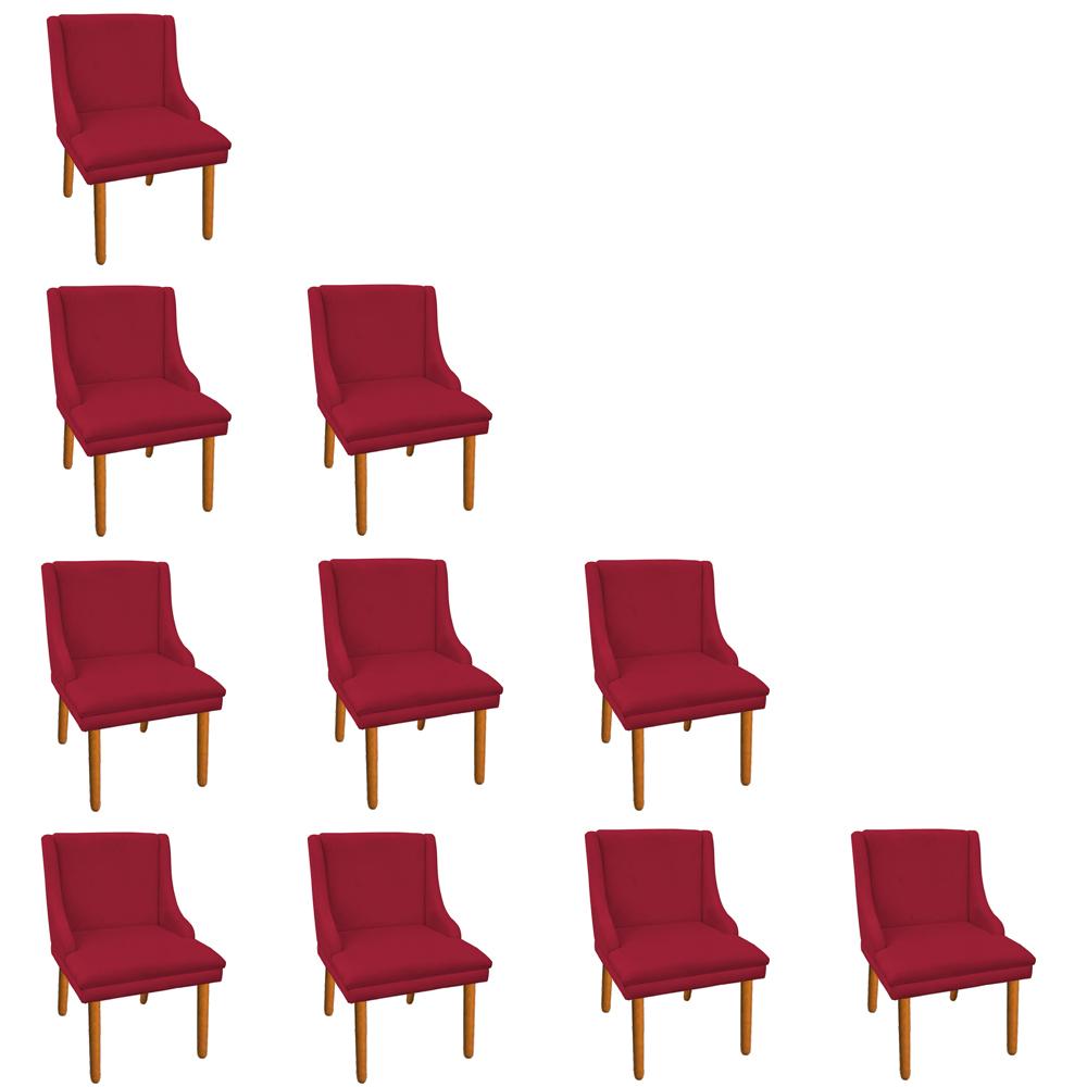Kit 10 Cadeiras de Jantar Liz Suede Vermelho Pés Palito Castanho D'Rossi