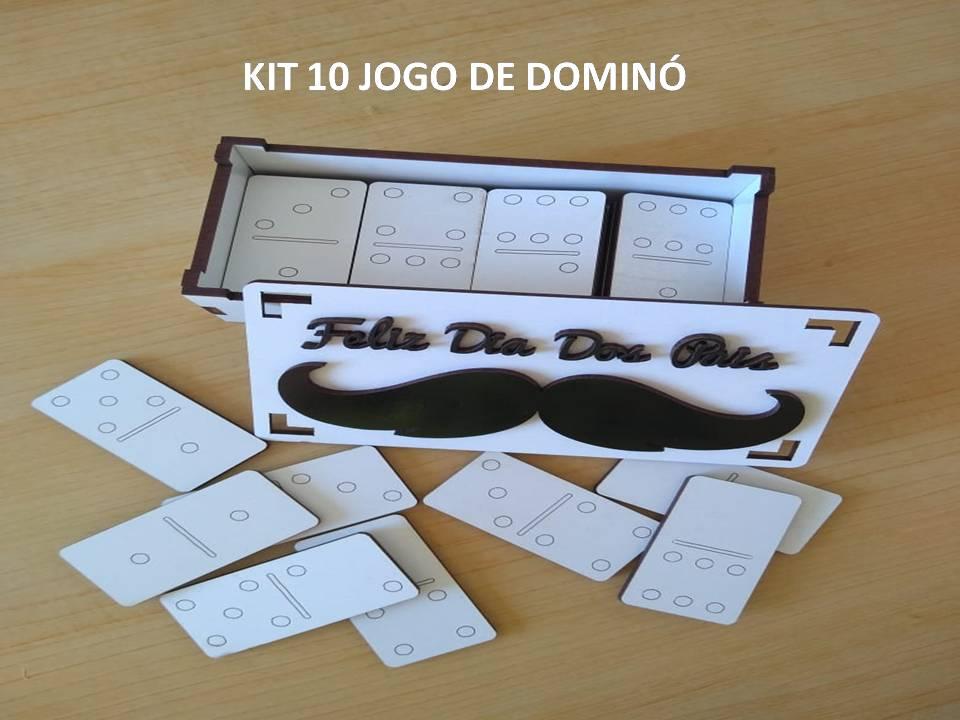 Kit 10 Jogo Dominó Lembrancinha Dia dos Pais MDF Branco 10X3X5,5 - D'Rossi