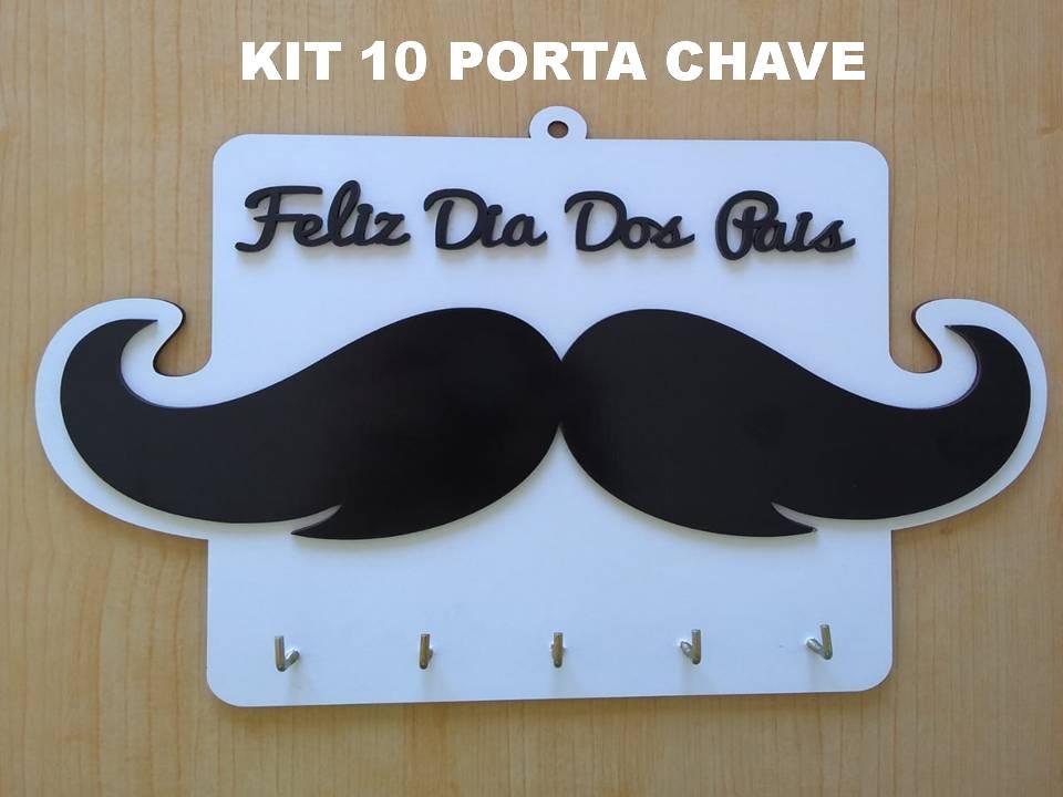 Kit 10 Porta Chaves Lembrancinha Dia dos Pais MDF Branco 17X25 - D'Rossi
