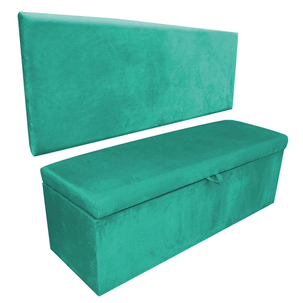 Kit Calçadeira e Painel Clean 0,90 cm Suede Verde Turquesa D'Rossi