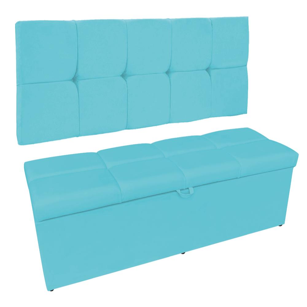 Kit Calçadeira e Painel Nina 140 cm Suede Azul Turquesa D'Rossi