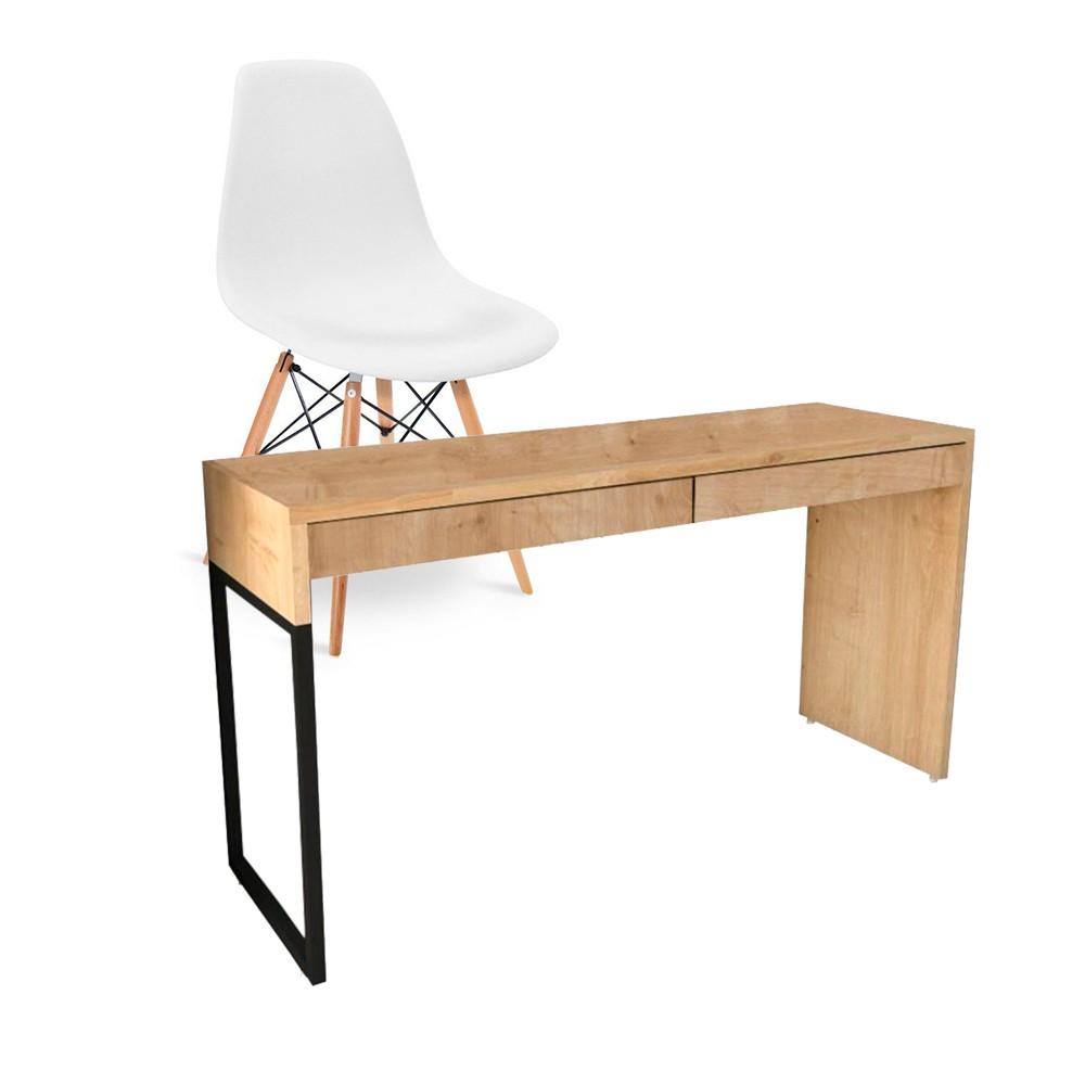 Kit Mesa Para Computador Desk Natura com Cadeira Eiffel Charles Eames Branco D'Rossi