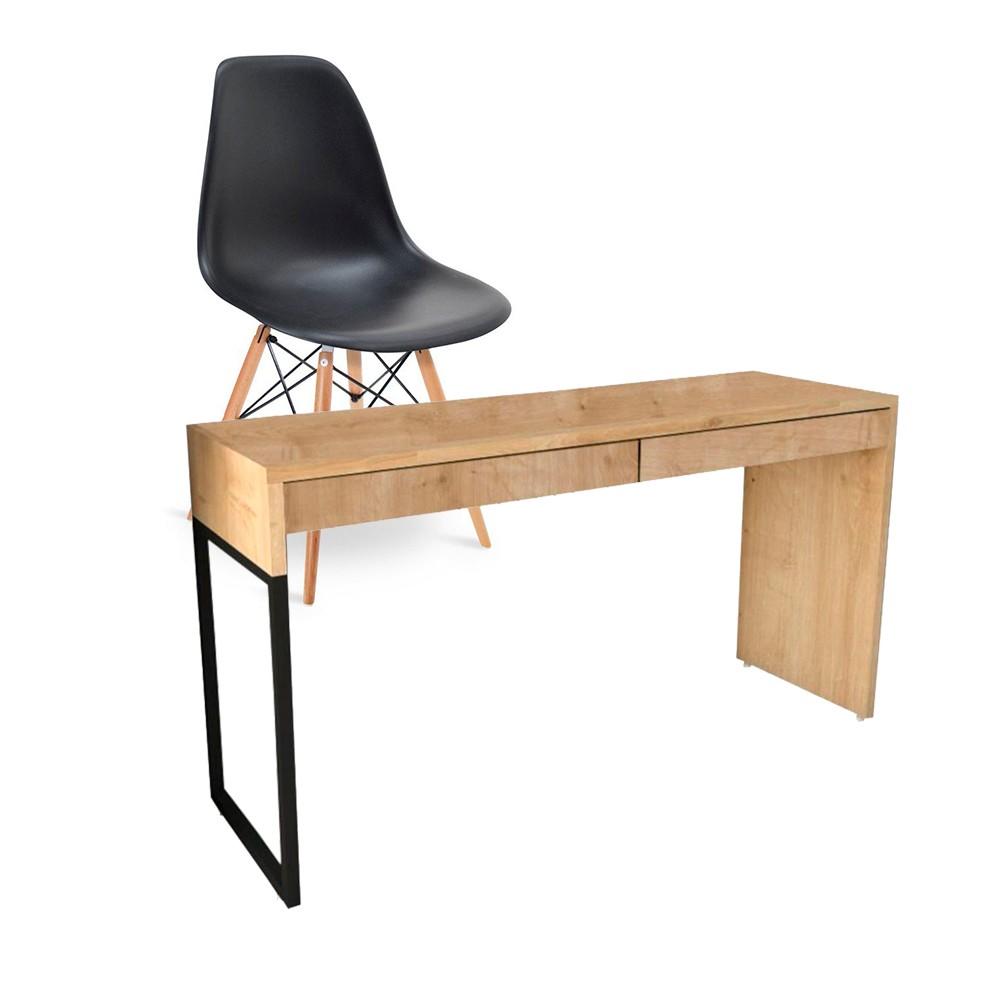 Kit Mesa Para Computador Desk Natura com Cadeira Eiffel Charles Eames Preto D'Rossi