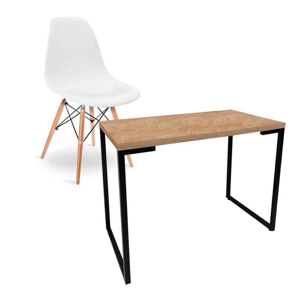 Kit Mesa Para Computador Escrivaninha Porto Natura 120 cm e Cadeira Eiffel Charles Eames Branco D'Rossi
