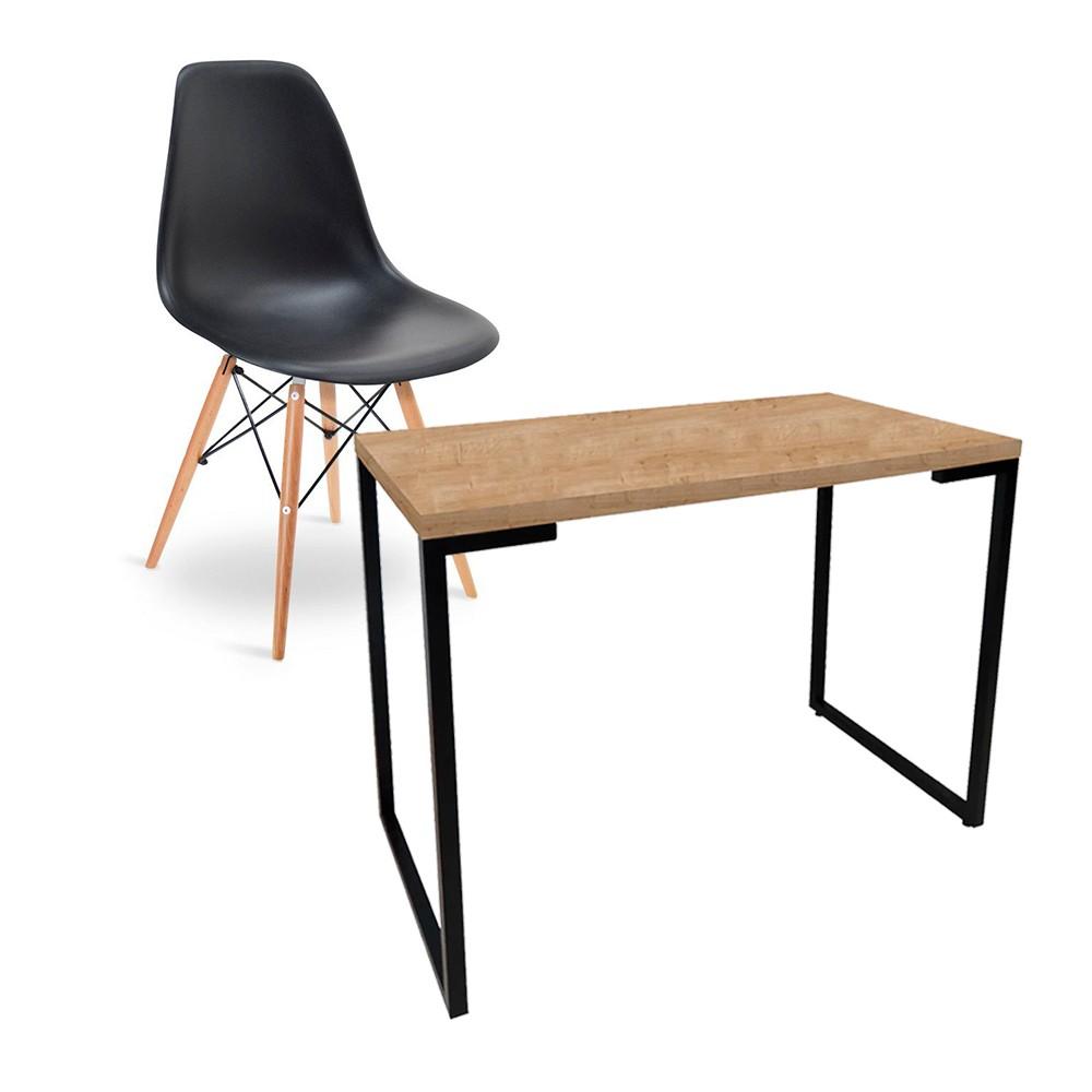 Kit Mesa Para Computador Escrivaninha Porto Natura 120 cm e Cadeira Eiffel Charles Eames Preto D'Rossi
