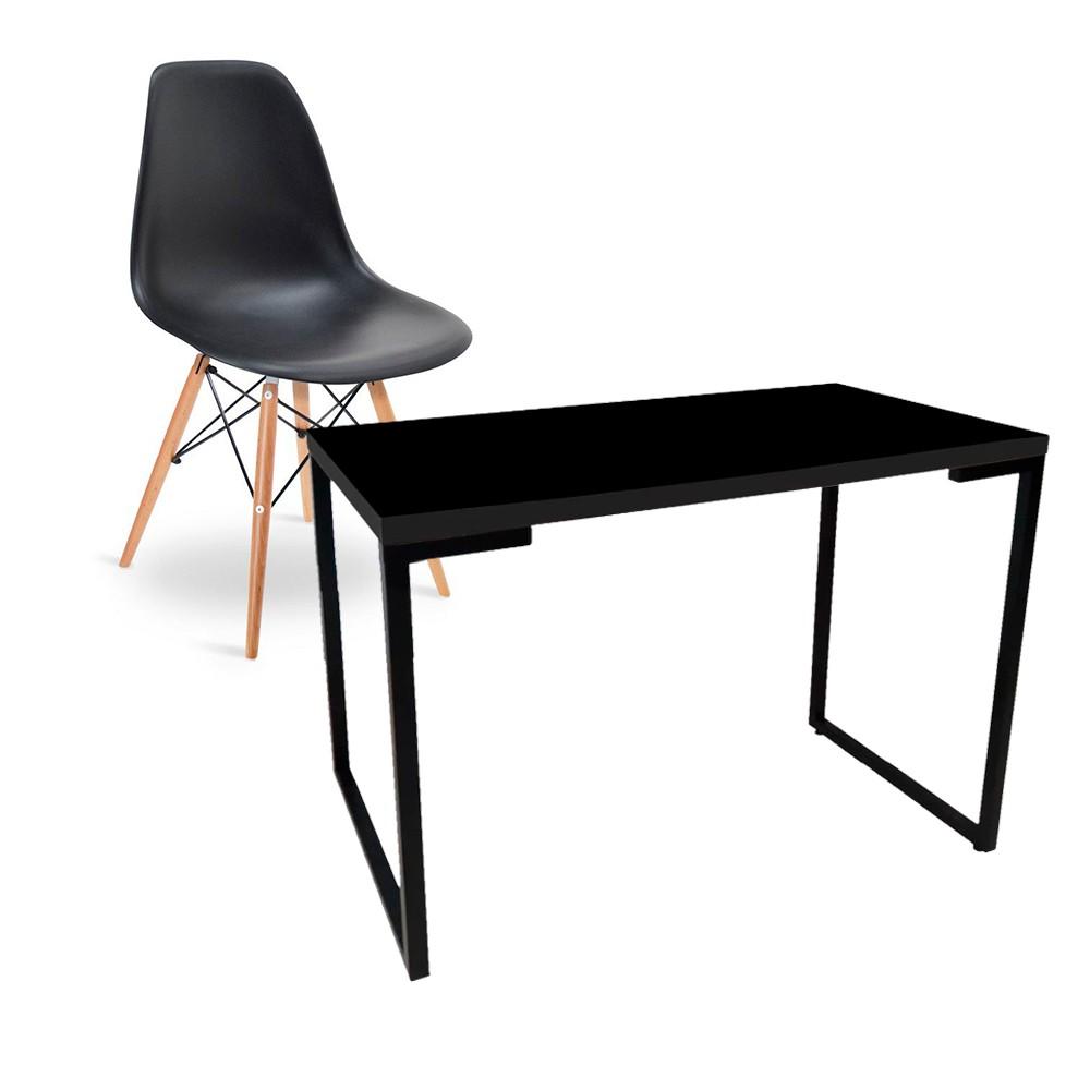 Kit Mesa Para Computador Escrivaninha Porto Preto 120 cm e Cadeira Eiffel Charles Eames Preto D'Rossi