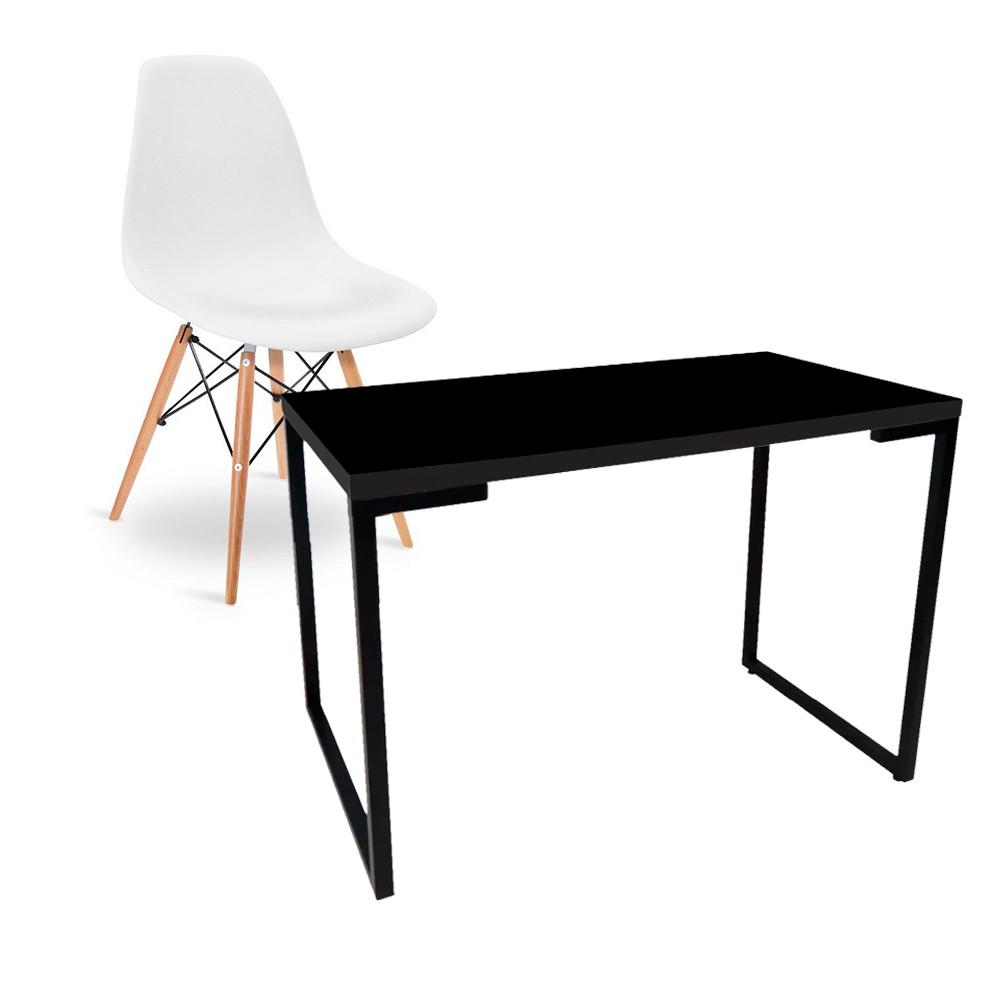 Kit Mesa Para Computador Escrivaninha Porto Preto 90 cm e Cadeira Eiffel Charles Eames Branco D'Rossi