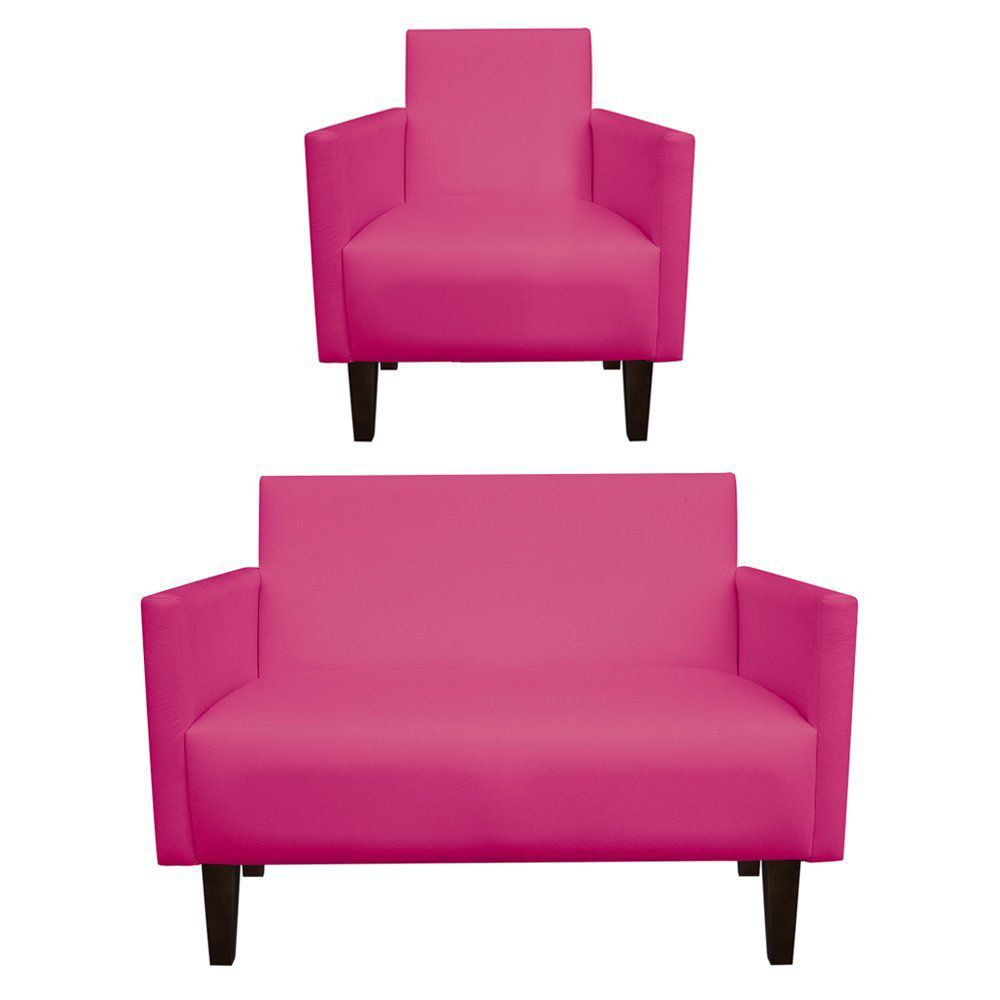 Kit Namoradeira 02 Lugares e 01 Poltrona Jade Corino Pink Pés Chanfrado Tabaco - D'Rossi