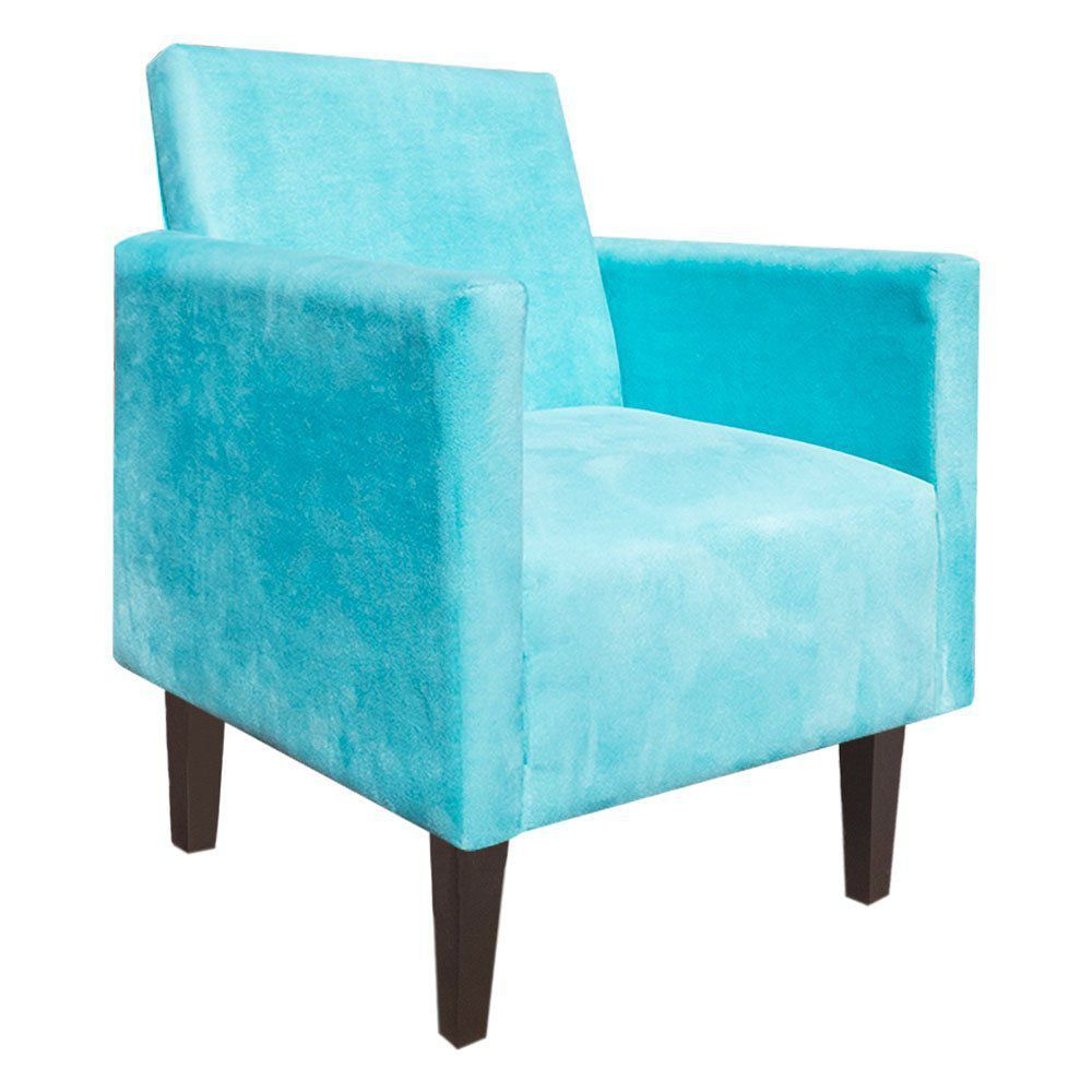 Kit Namoradeira 02 Lugares e 02 Poltronas Jade Suede Azul Turquesa Pés Chanfrado Tabaco - D'Rossi