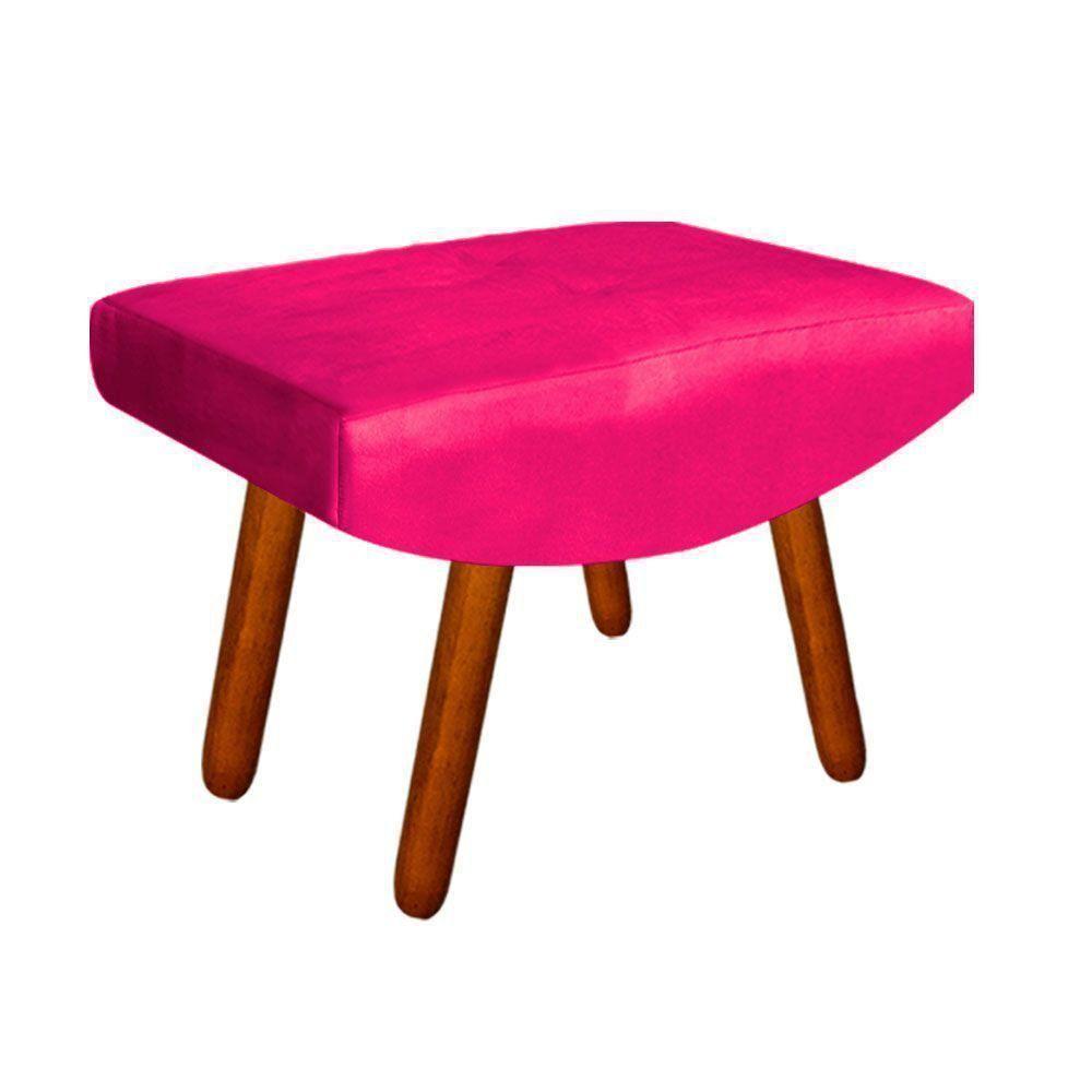 Kit 01 Poltrona e 01 Puff Josy Suede Pink Pés Palito Castanho D'Rossi