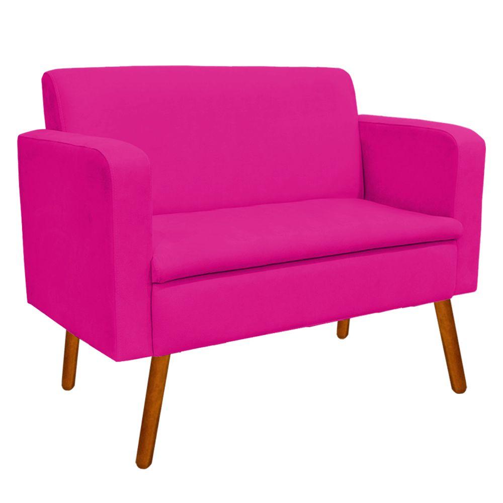 Kit Sofá Retrô Namoradeira e 02 Poltronas Emília Suede Pink Pés Palito Castanho D'Rossi