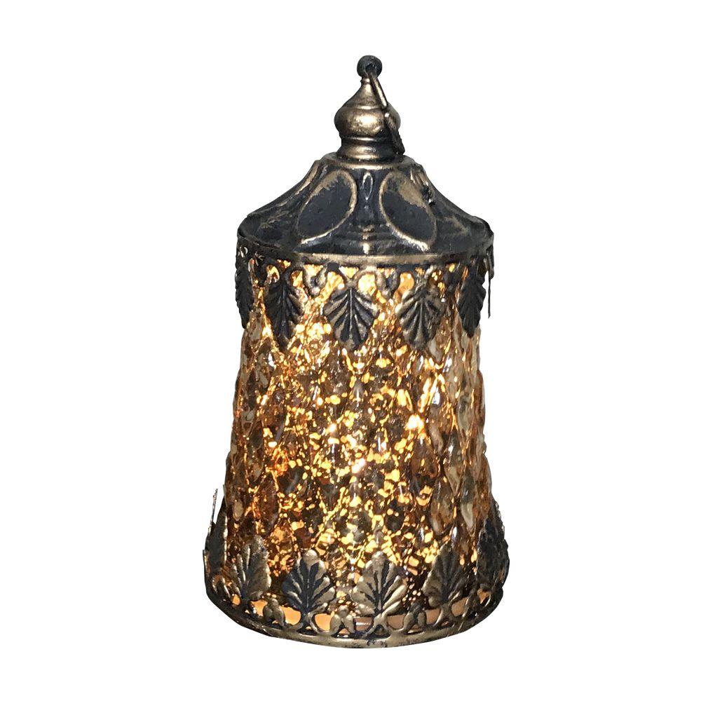 Lanterna Decorativa em Vidro com LED Dourado 12X7X7cm - D'Rossi