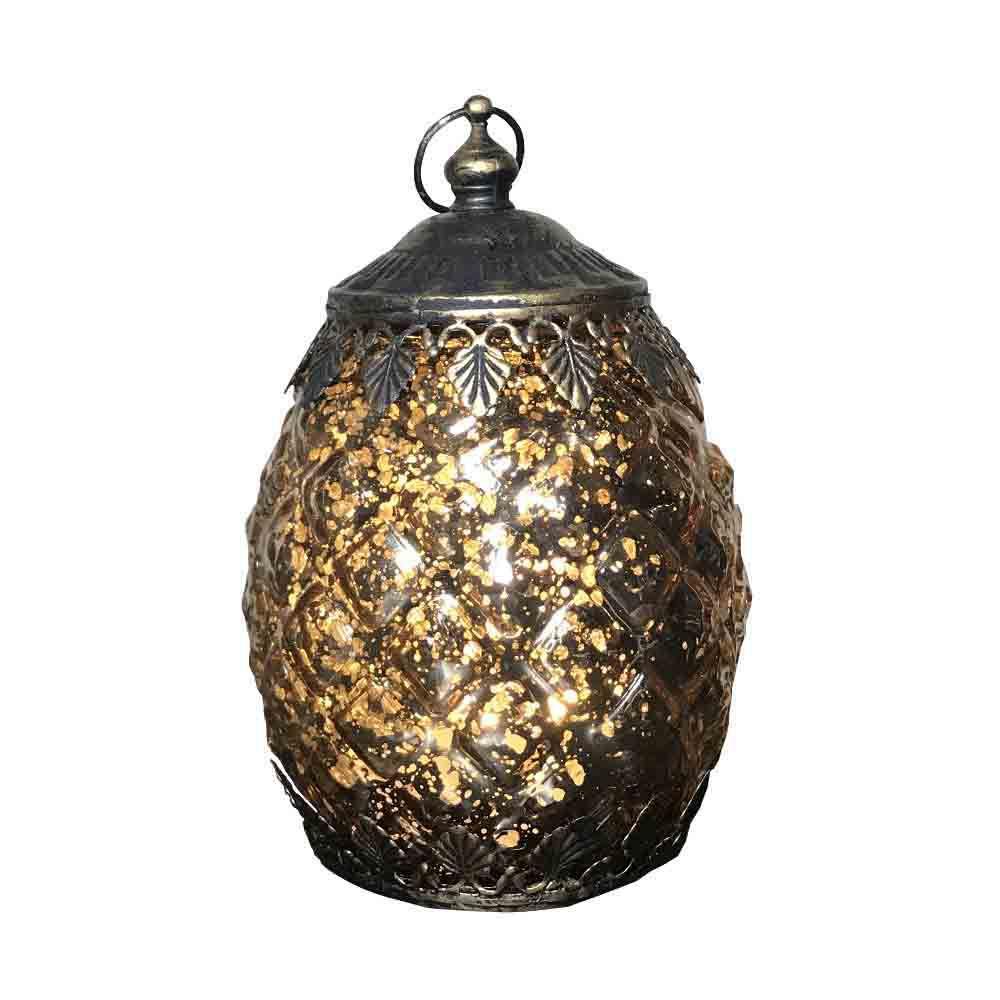 Lanterna Decorativa em Vidro com LED Dourado 14,5X9,5X9,5cm - D'Rossi