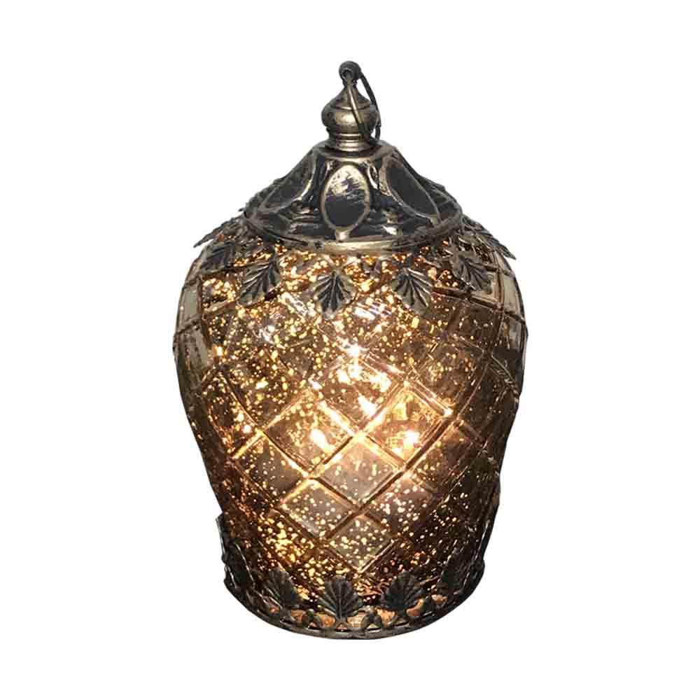 Lanterna Decorativa em Vidro de LED Dourado 14,5X9X9cm  - D'Rossi