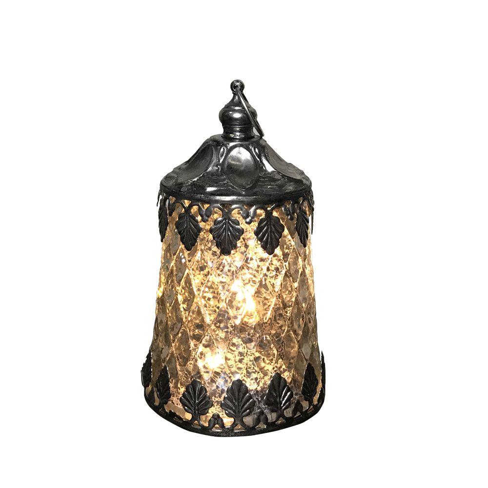 Lanterna Decorativa em Vidro de LED Prata 12x7 - D'Rossi