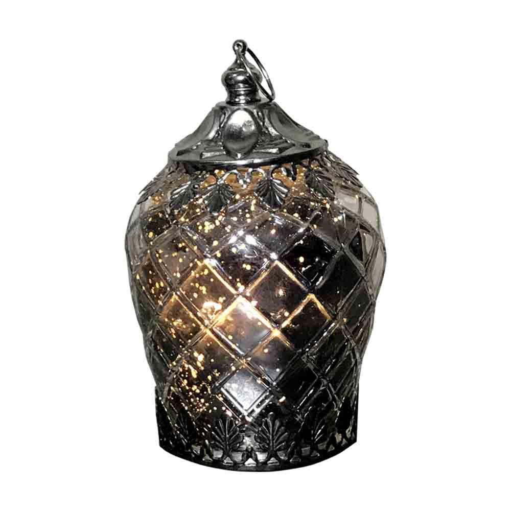 Lanterna Decorativa em Vidro de LED Prata 14,5X9X9cm - D'Rossi