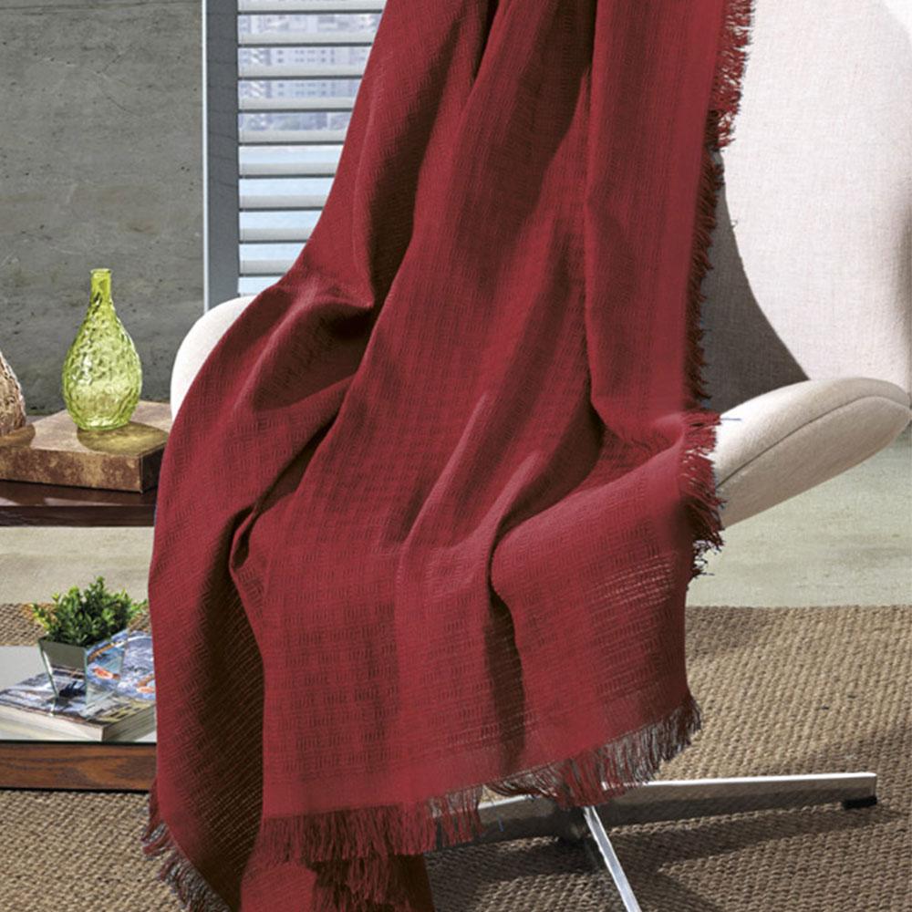 Manta de Algodão Unicolor Liso Vermelho 210 x 150 cm D'Rossi