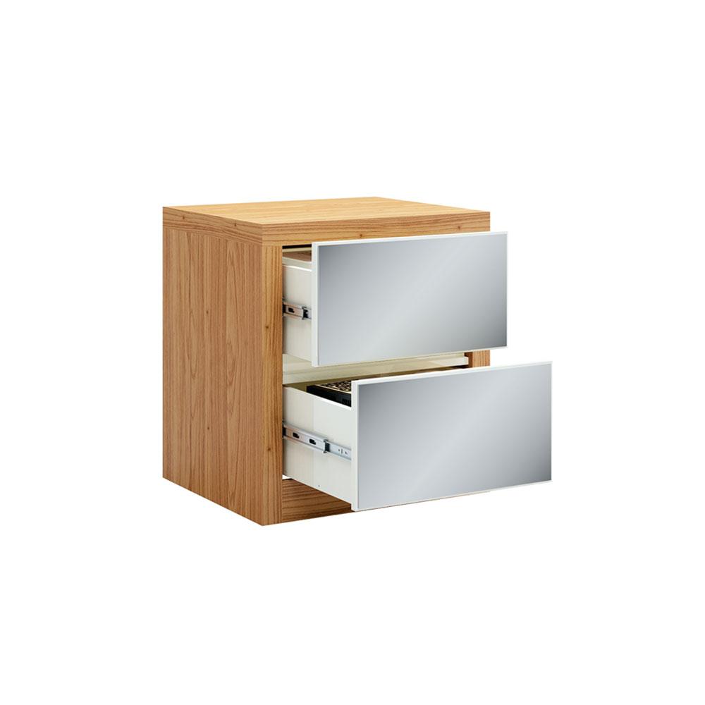 Mesa de Cabeceira Rubi com 02 Gavetas Espelhadas Freijó e Off White 58 cm - D'Rossi