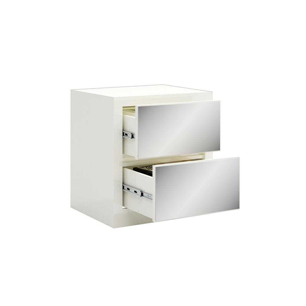 Mesa de Cabeceira Rubi com 02 Gavetas Espelhadas Off White 58 cm - D'Rossi