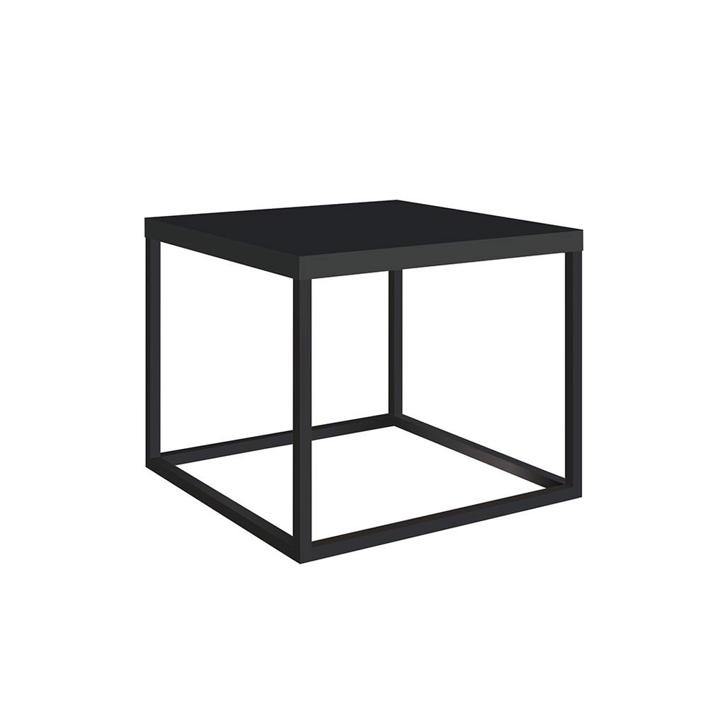 Mesa de Centro Cube Estilo Industrial Preto Fosco Base Metálica Preto 32,5 cm - D'Rossi