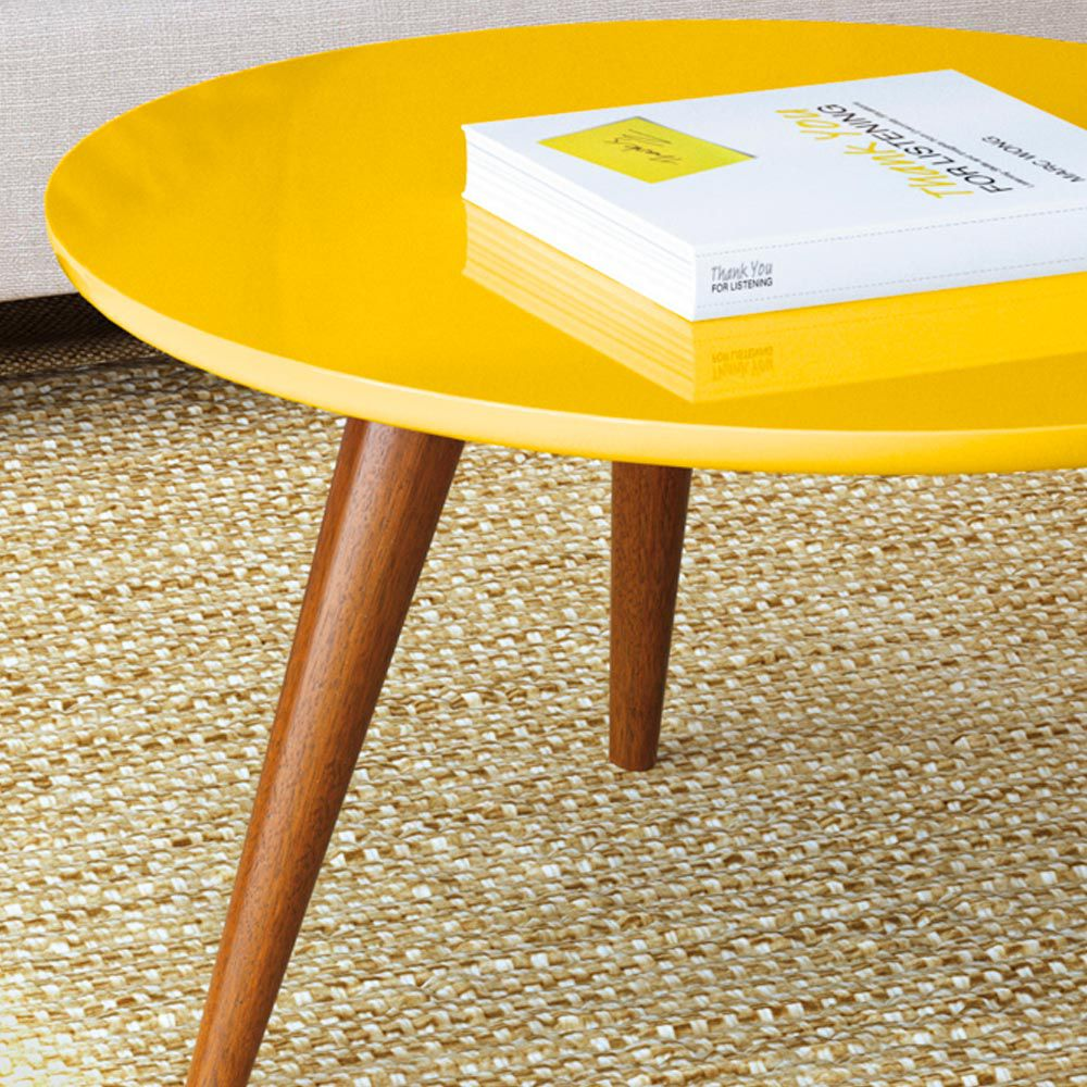 Mesa de Centro Sorelle Amarelo Pés Palito Castanho D'Rossi