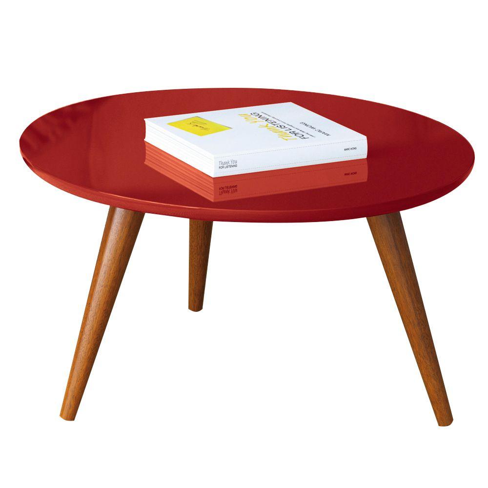 Mesa de Centro Sorelle Vermelho Pés Palito Castanho D'Rossi