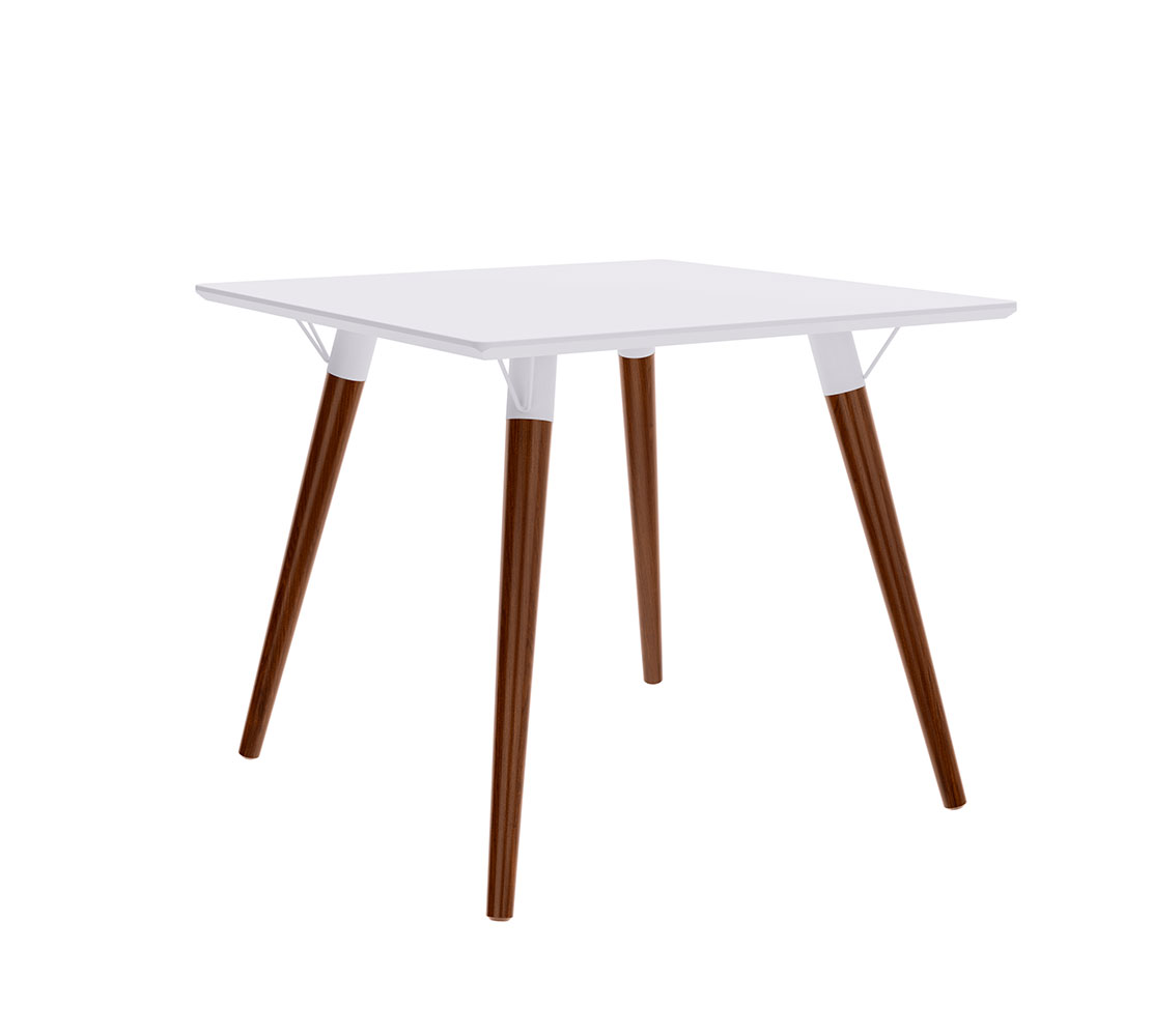 Mesa de Jantar Quadrada Artenis Branco Pés de Madeira Escuro 90 cm - D'Rossi