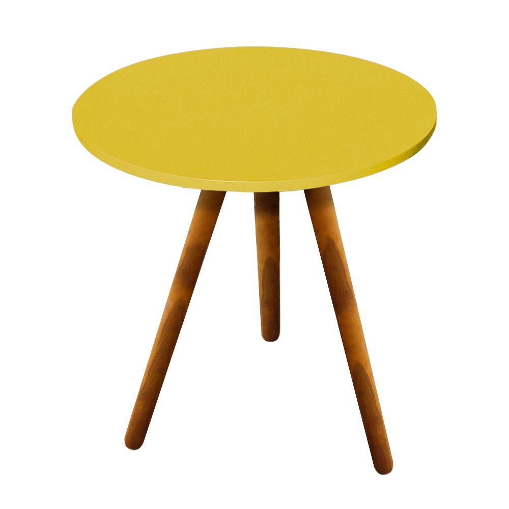 Mesa Lateral Sala de Estar Madeira Amarelo - D'Rossi
