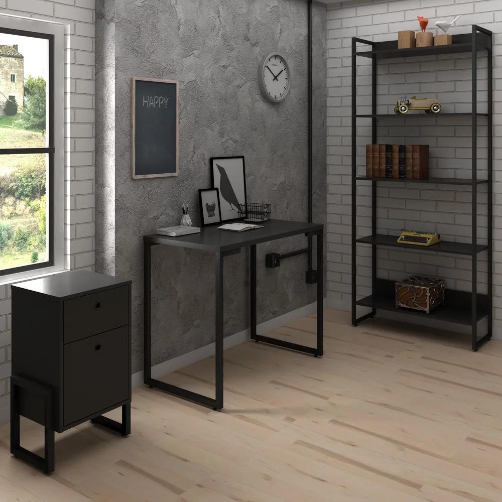 Mesa Para Computador Escrivaninha Porto 120cm Preto D'Rossi