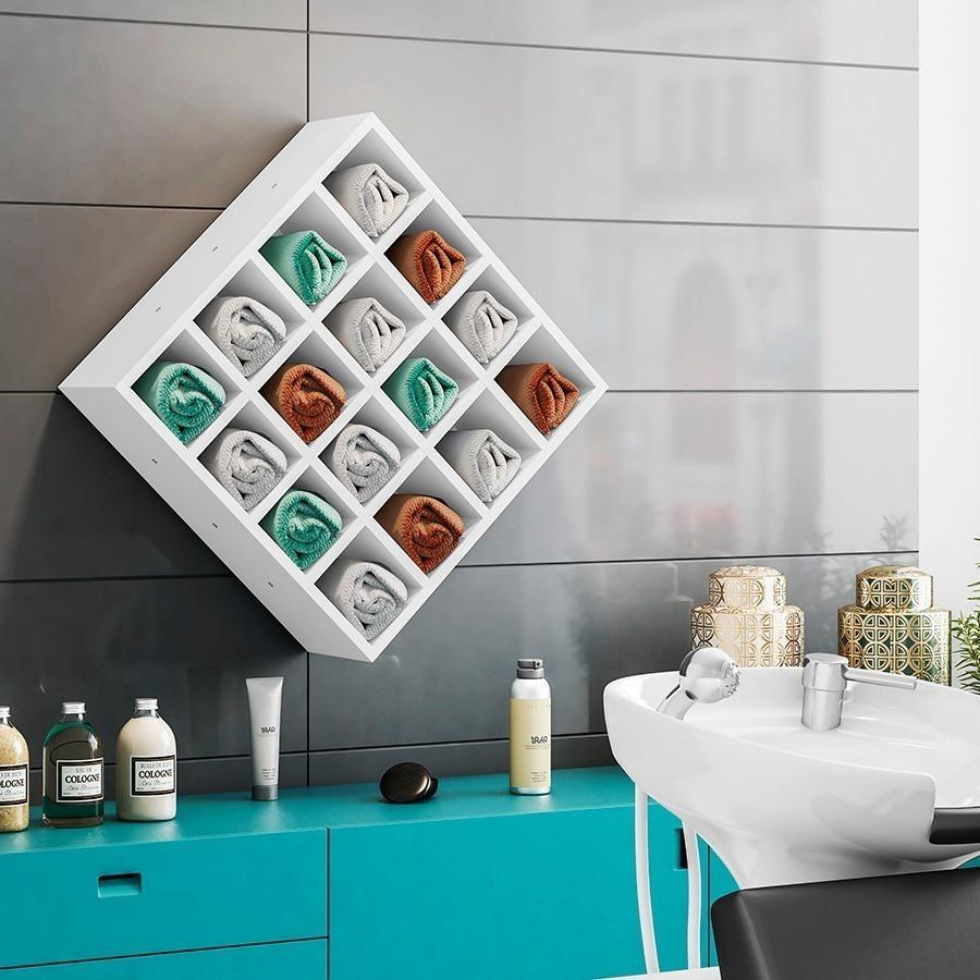 Nicho Porta Toalhas 16 Lugares Organizador 52x52 cm - AJL Móveis