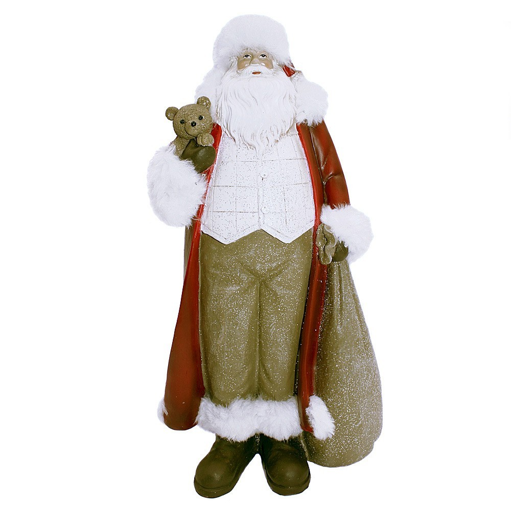 Enfeite Papai Noel com Glitter Vermelho 32X16X11 cm D'Rossi