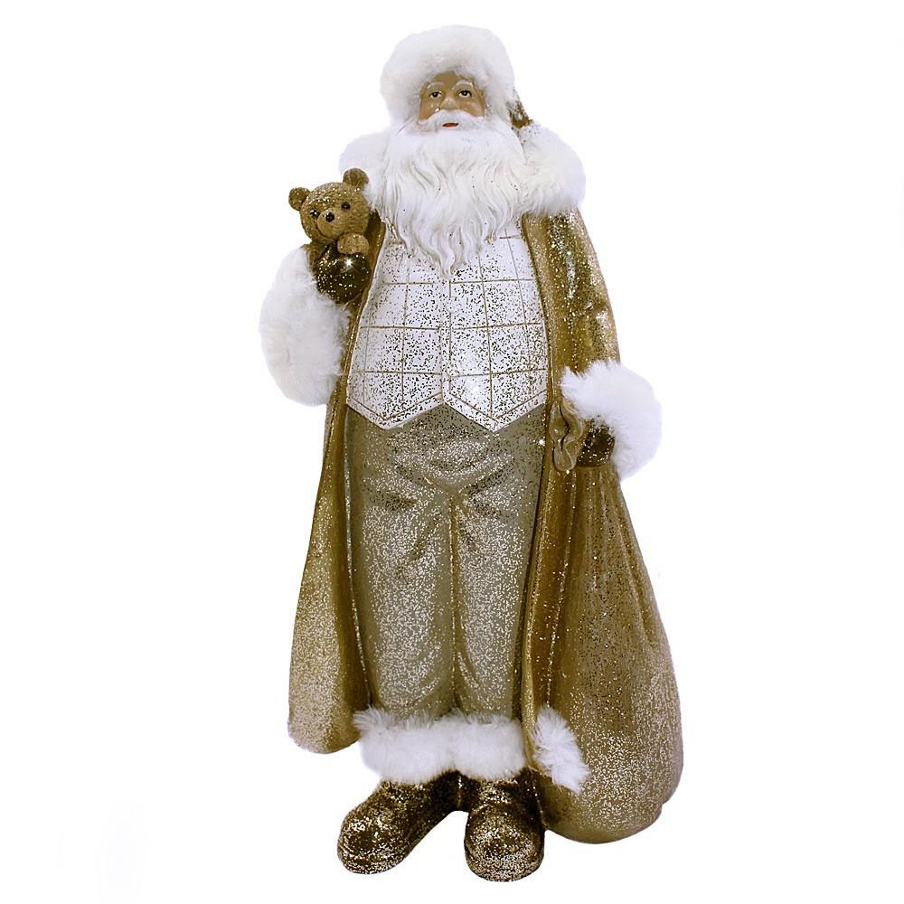 Enfeite Papai Noel Dourado Com Glitter D'Rossi