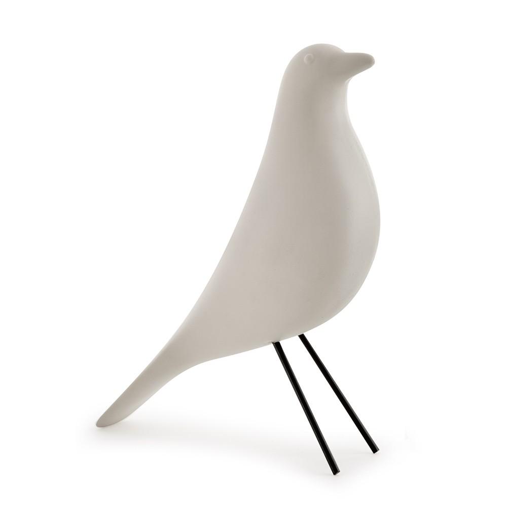 Escultura Pássaro Decorativo Branco em Cimento 22 x 7cm D'Rossi
