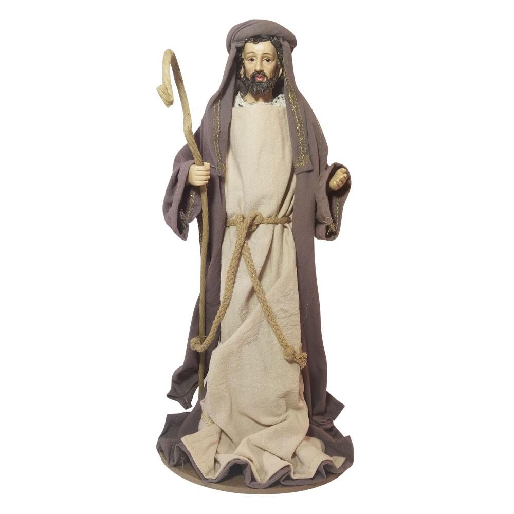 Peça Decorativa Natal Sagrada Família Resina Branco com Bege D'Rossi