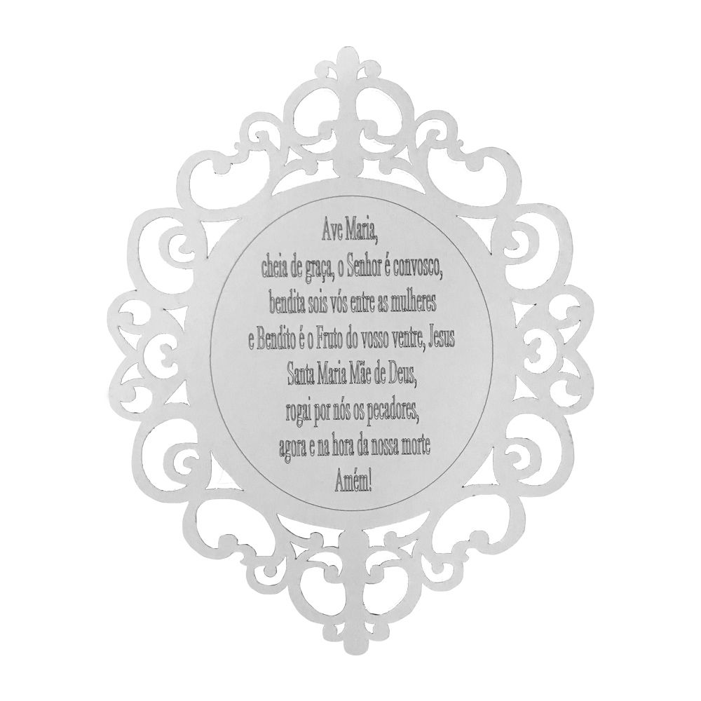 Placa Decorativa Ave Maria Arabesco MDF 25x20 Branco - D'Rossi