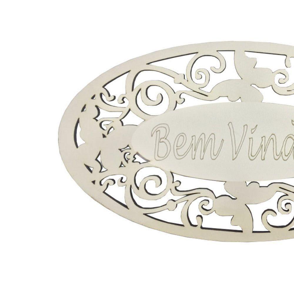Placa Decorativa Bem Vindo Com Arabesco 22x12 MDF 3mm Branco - D'Rossi
