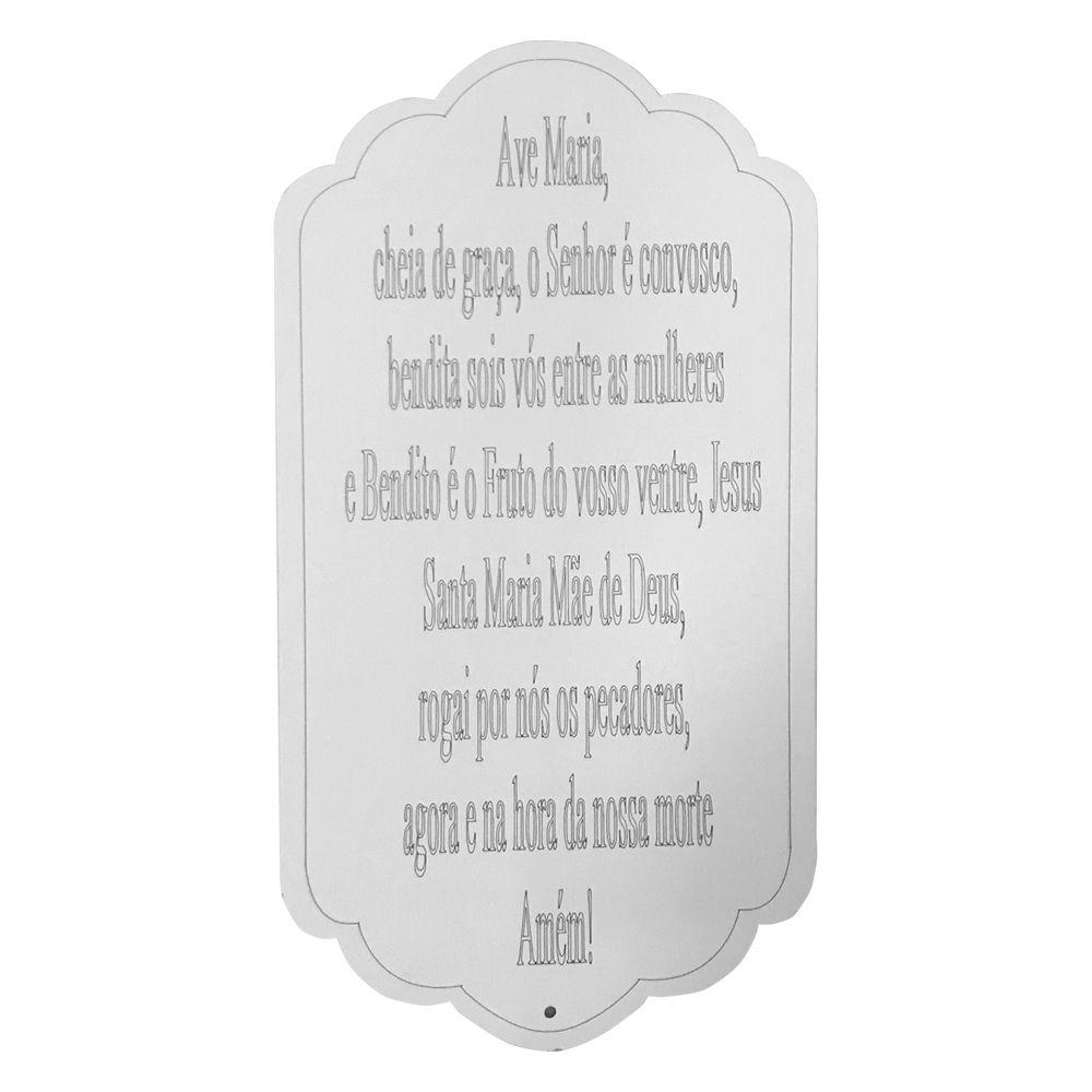 Placa Decorativa Oração Ave Maria MDF 30x15,5 cm Branco - D'Rossi