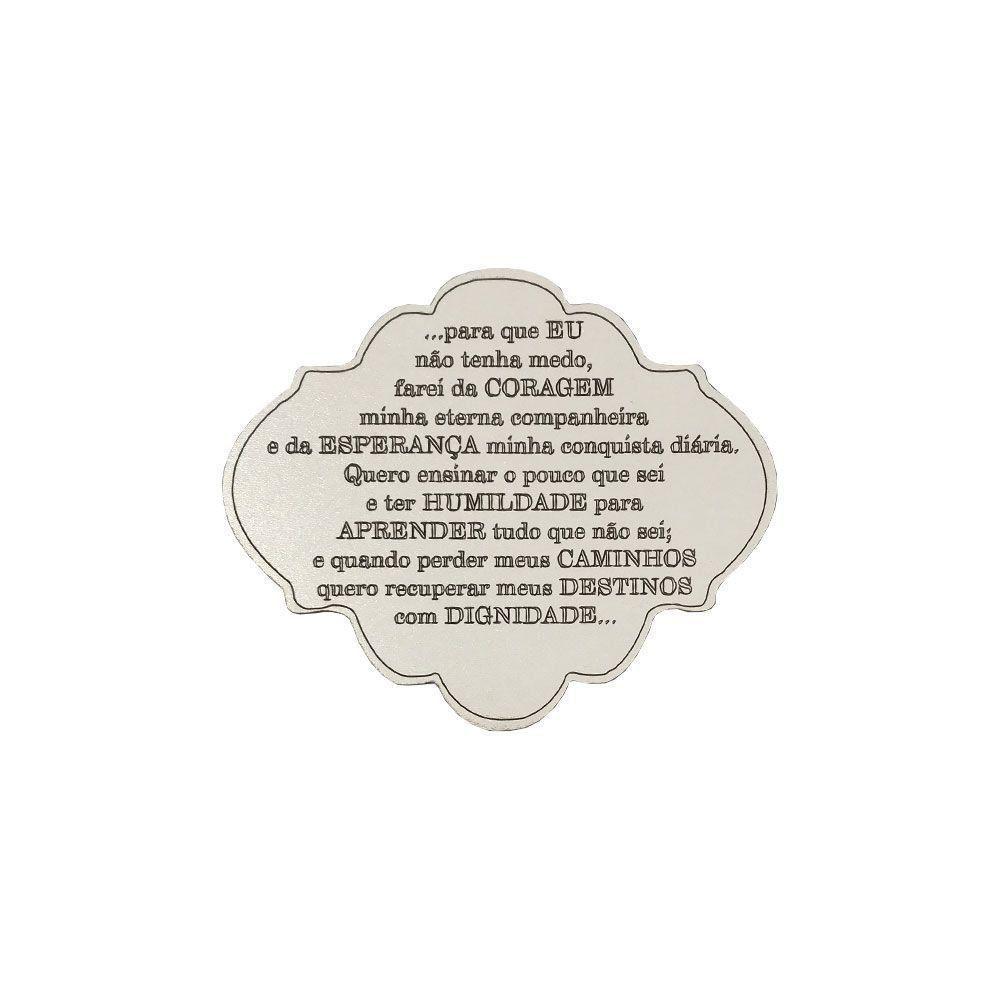 Placa Decorativa Oração Coragem 12x10 MDF 3mm Branco - D'Rossi