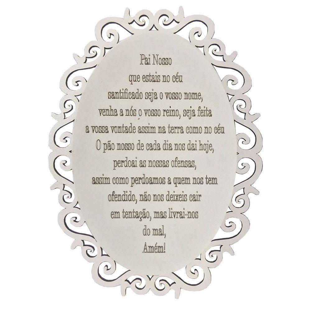 Placa Decorativa Oração Pai Nosso Com Arabesco 25x19 MDF 3mm Branco - D'Rossi