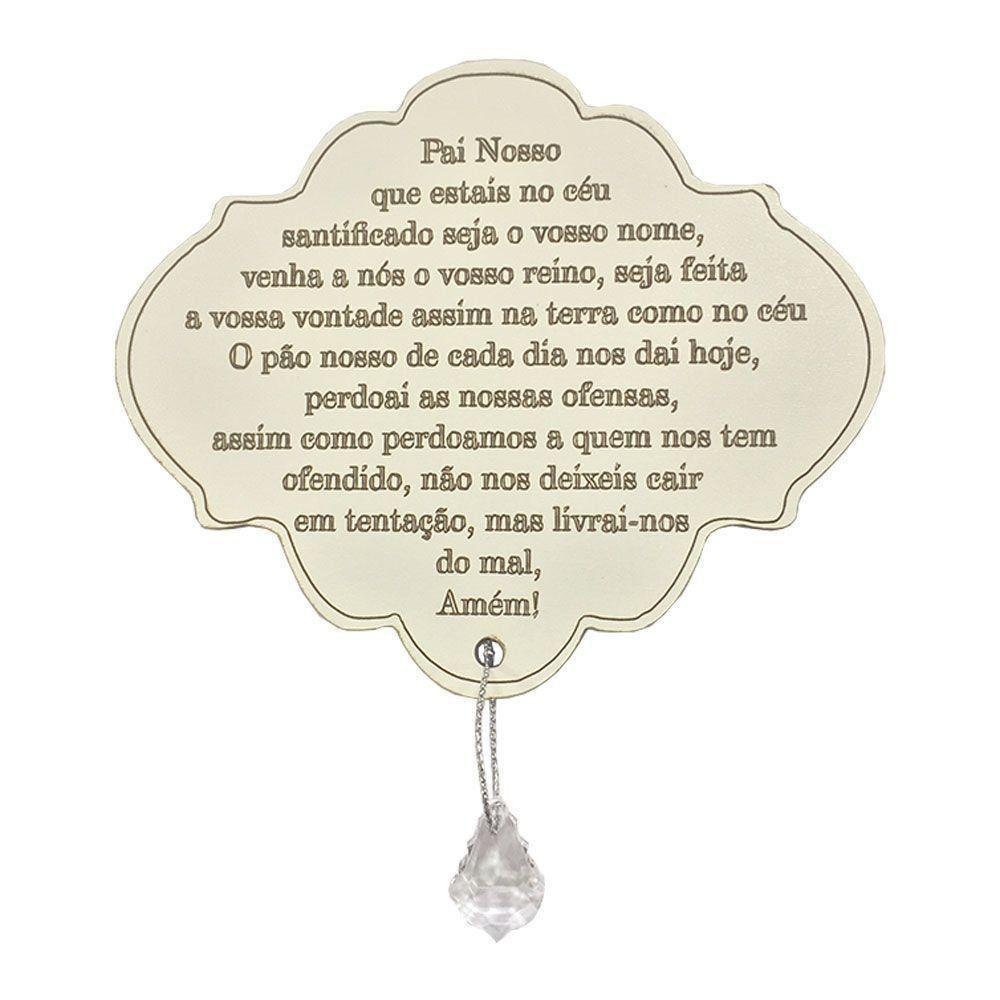 Placa Decorativa Oração Pai Nosso Com Pingente 22x20 MDF 3mm Branco - D'Rossi