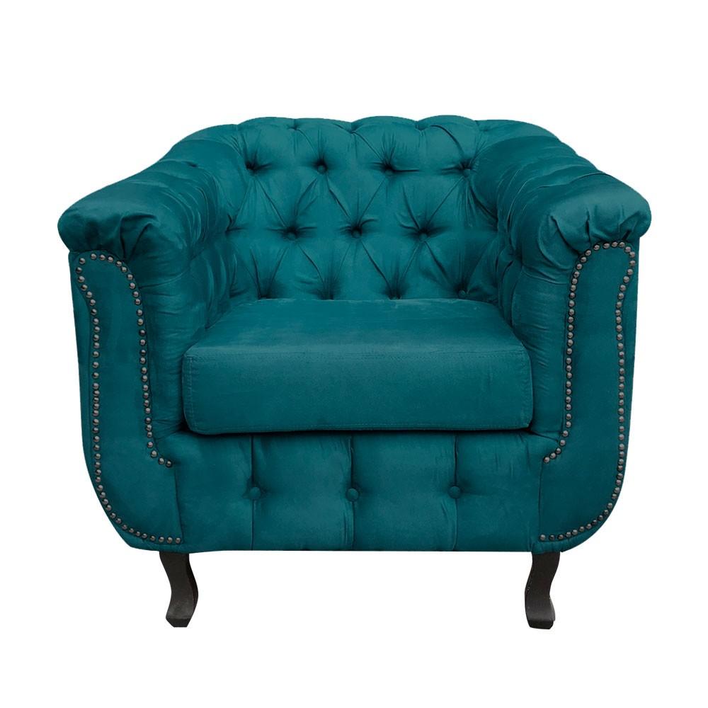 Poltrona Chesterfield Suede Azul Pavão - D'Rossi